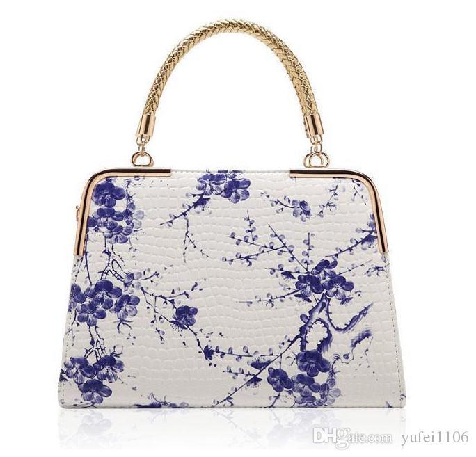 Мода женский пакет 2016 новый горячий стиль китайский ветер синий и белый фарфор камень зерна печати зеркало мешок дамы сумки
