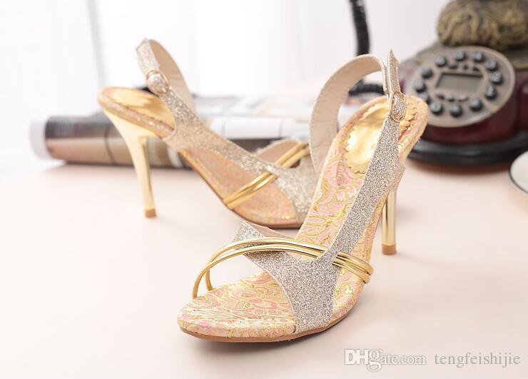 2016 verano caliente nueva Europa y sexy sandalias de tacón alto con zapatos de hebilla de plata dorada de moda hueco delgado