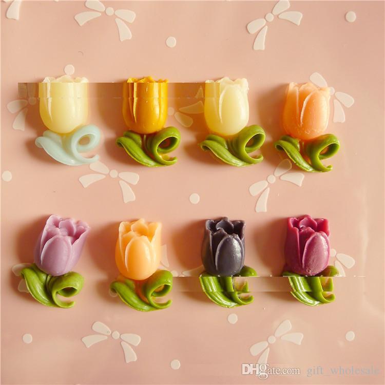 Fascino Cabochon Fiore Tulipano Flatback in resina multicolore / Trova, DIY Jewellerry Making Accessory 8 colori per le scelte