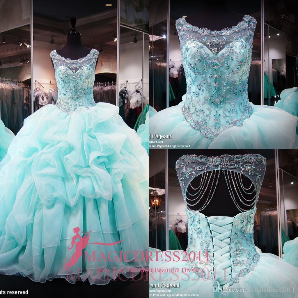 Ny bollklänning ljusblå quinceanera klänningar ren nacke juvel pärlor kristaller söta 16 prom klänningar plus storlek långa organza ruffled klänningar