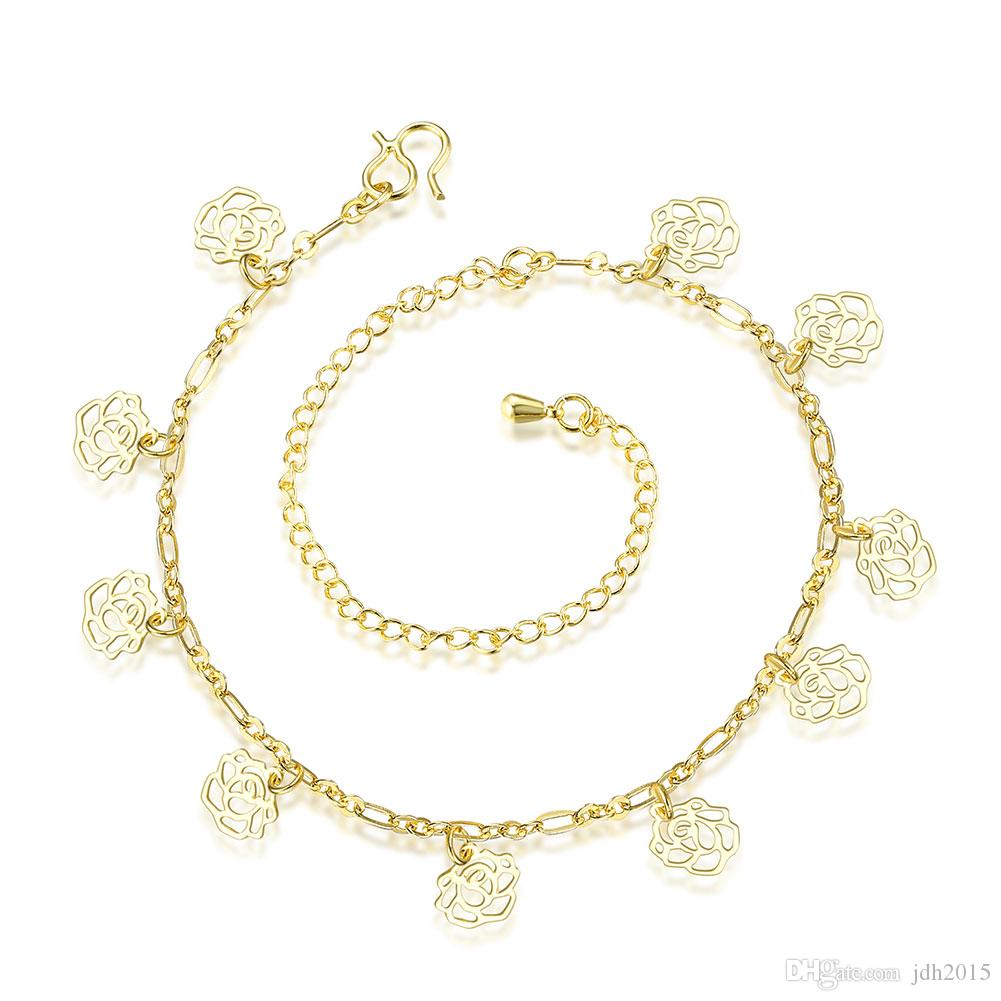 Gold Plated Hollow Out Rose Flower Tassel Anklet Foot Chain