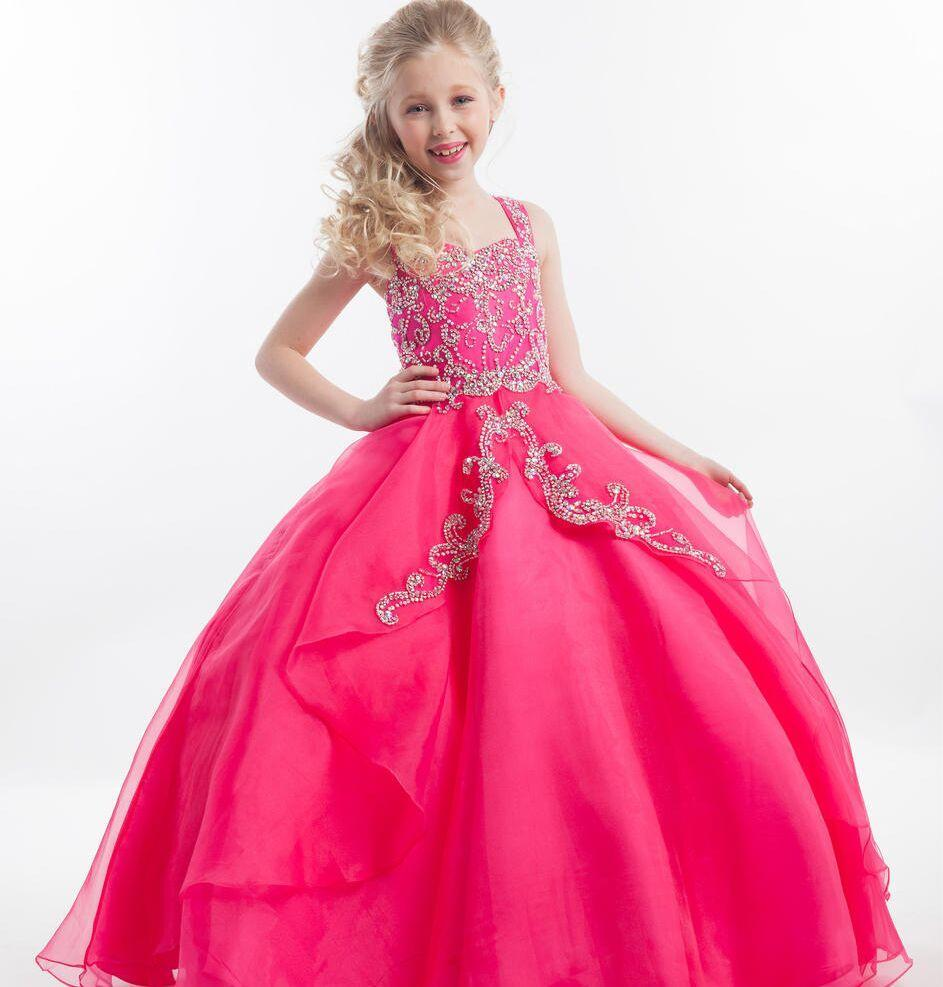 Little Girl Pageant Dresses 2016 Fuchsia Kids Ball Gown Prom ...