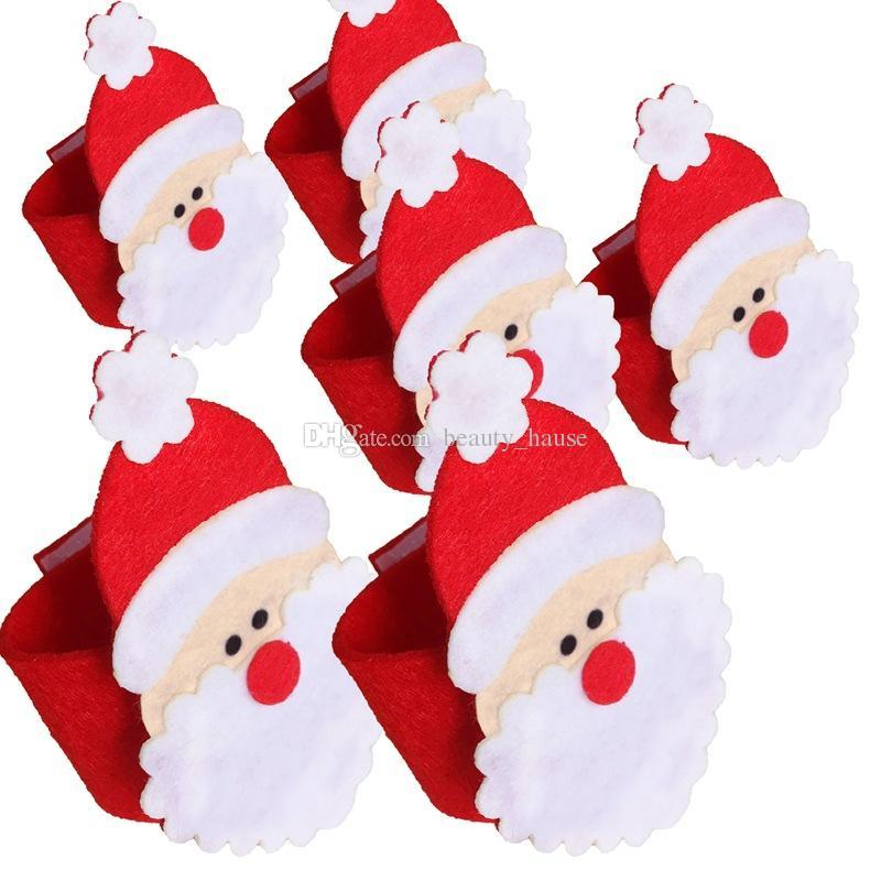 Christmas Santa Claus Napkin Rings 12pcs/lot Non-woven Napkin Serviette Holders Christmas Party Table Decorations Home Restaurant Decor