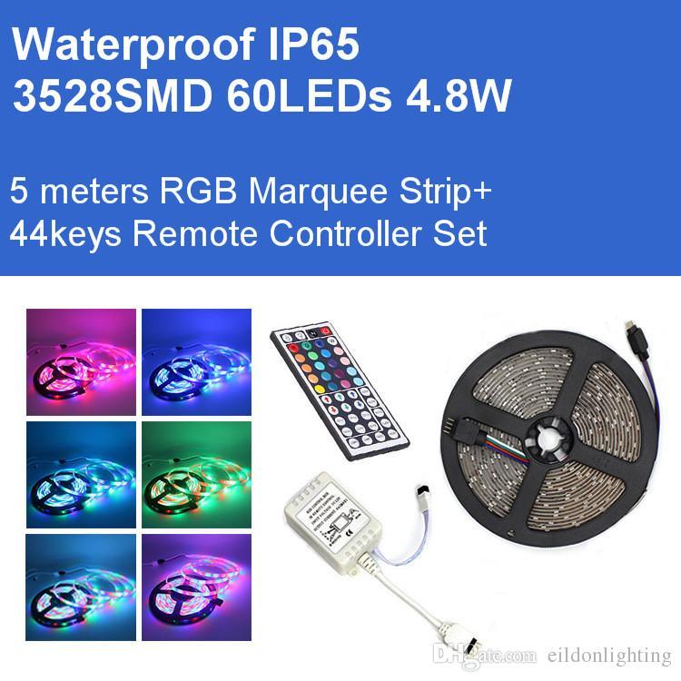 DC12V 5М Marquee Гибкие полоски RGB 3528SMD 300LEDs 24W Kit светодиодные лампы 2A Адаптер IP65 Водонепроницаемый Лампы прямые Шэньчжэнь Китай Оптовые