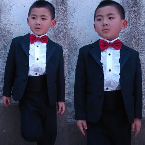 Tenue de cérémonie pour garçon Noir Deux boutons Bébé Petit Enfant Grand Garçon Garçon Garçon Habillé Tuxedo (Veste + Pantalon + Noeud Papillon) Q13