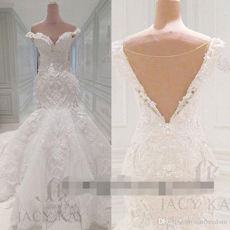 Vestido De Noiva Lace Wedding Dresses 2019 Spring Designer New Crystal Pearls Embroidery For Church Wedding Party Dresses Bridal Gowns