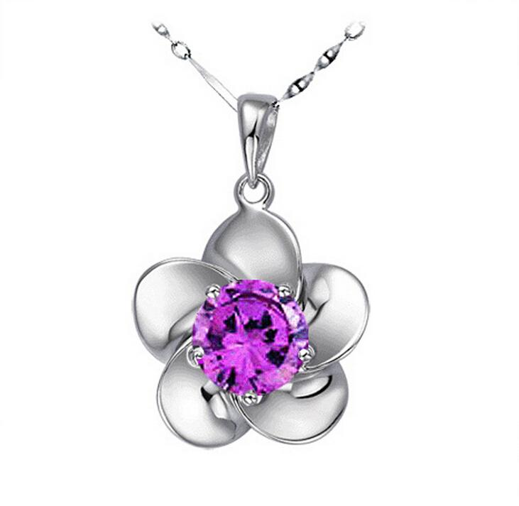 New Fine Rose Flower Pendants Austrian Crystal Necklace 925 Sterling Silver Plating Crystal Elements Diamond Chain Necklace 2 Colors Free