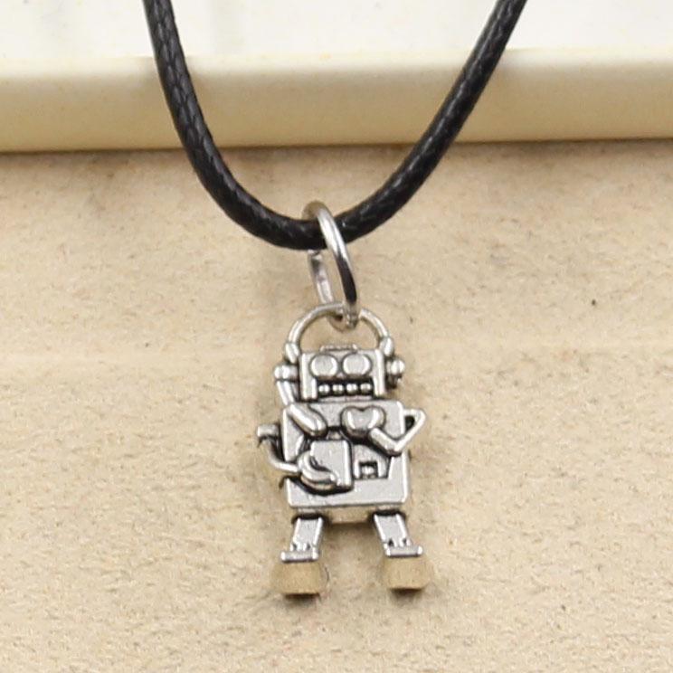 12pcs nuevo de la manera colgante de plata tibetana robot 17 * 9 mm Collar Gargantilla Negro Charm cordón de cuero del precio de fábrica hecha a mano Jewlery