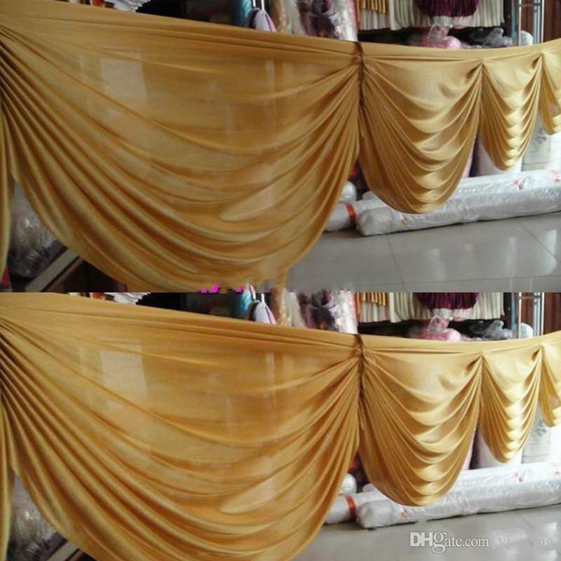 6 M de largo oro hielo seda cortina swags para telones de boda boda fiesta evento decoración suministros