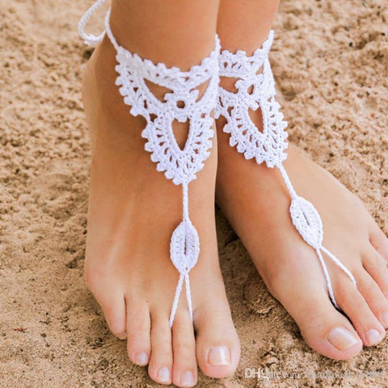 1 쌍 또는 2 PCS 크로 셰 뜨개질 맨발 샌들, 누드 신발, 웨딩 신발, 빅토리아 레이스, 섹시한, 요가, 밸리 댄스 슈즈