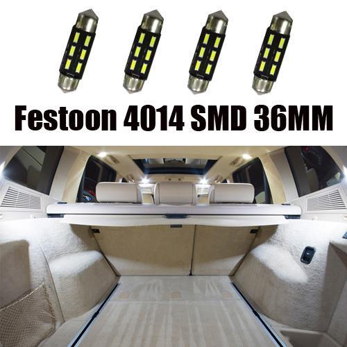 200X Hotsales Car Interior Festone Dome Lettura LED Veicolo leggero 6SMD 4014 36mm Cargo Area targa Lampada tetto footwell lampadine Bianco