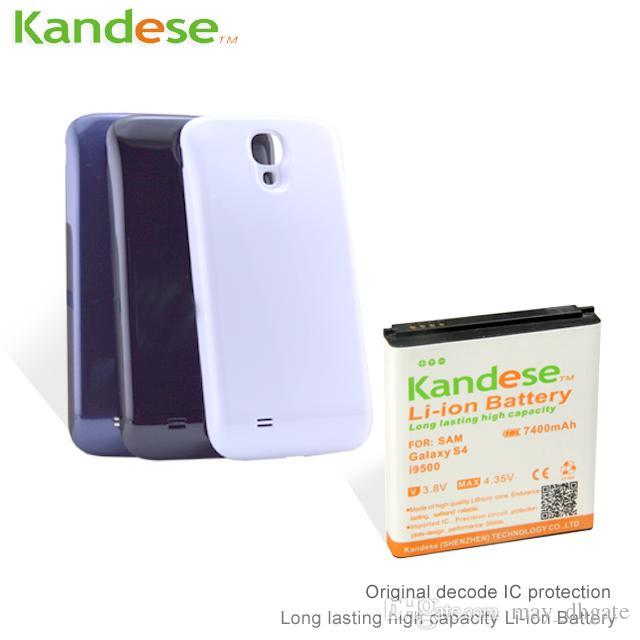 KANDESE Bianco Nero Coprivetrino + 7400mAh Ampia capacità di riporto Batteria estesa per Samsung Galaxy S4 i9500 9500