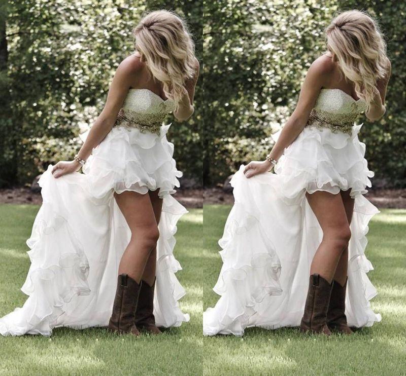 Verão Jardim Praia Vestidos de Noiva de Baixo Country com Crystal Beaded Sweetheart Vestidos Nupciais Bargueiros Bebles BLING BLING BLING