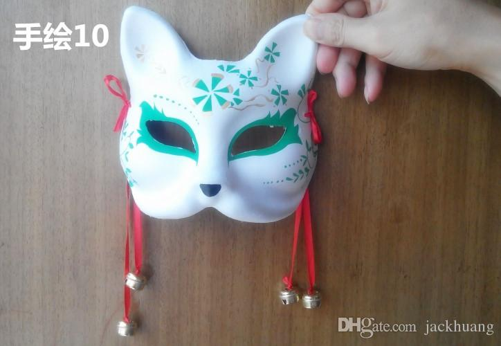 Hand-painted Fox Mask Endulge Japanese Full Face Pulp Halloween Animal Mask Masquerade Cosplay Party Masks 5 style free shipping