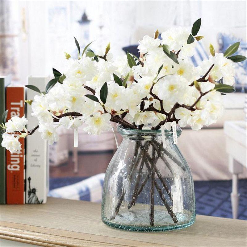 """미니 체리 40cm / 15.75 """"길이 인공 꽃 벚꽃 사쿠라 3 줄기 웨딩 센터 피스 4 가지 색상 사용 가능"""