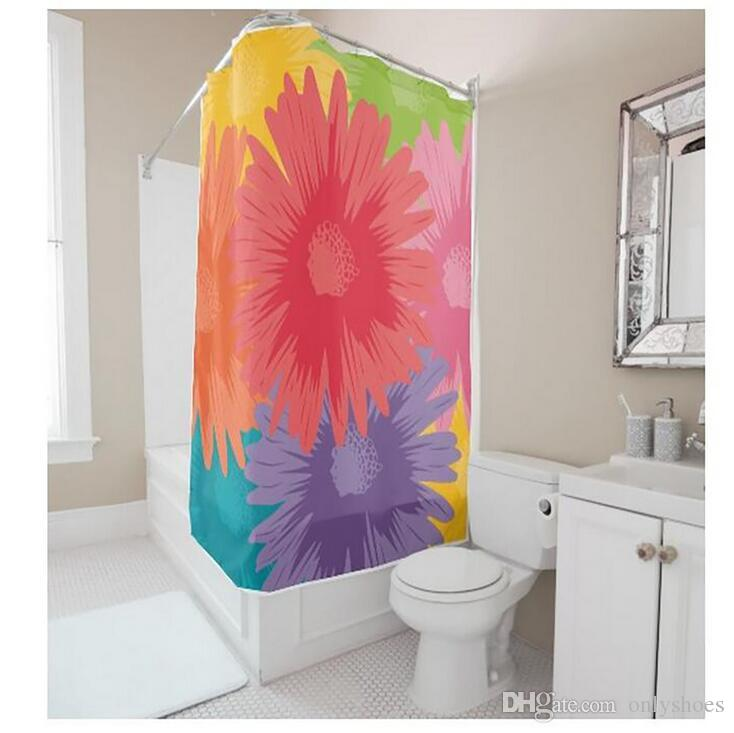 Customs 36/48/60/66/72/80 (W) x 72 (H) Inch Shower Curtain Multi-coloured Flowers Waterproof Polyester Fabric Diy Shower Curtain