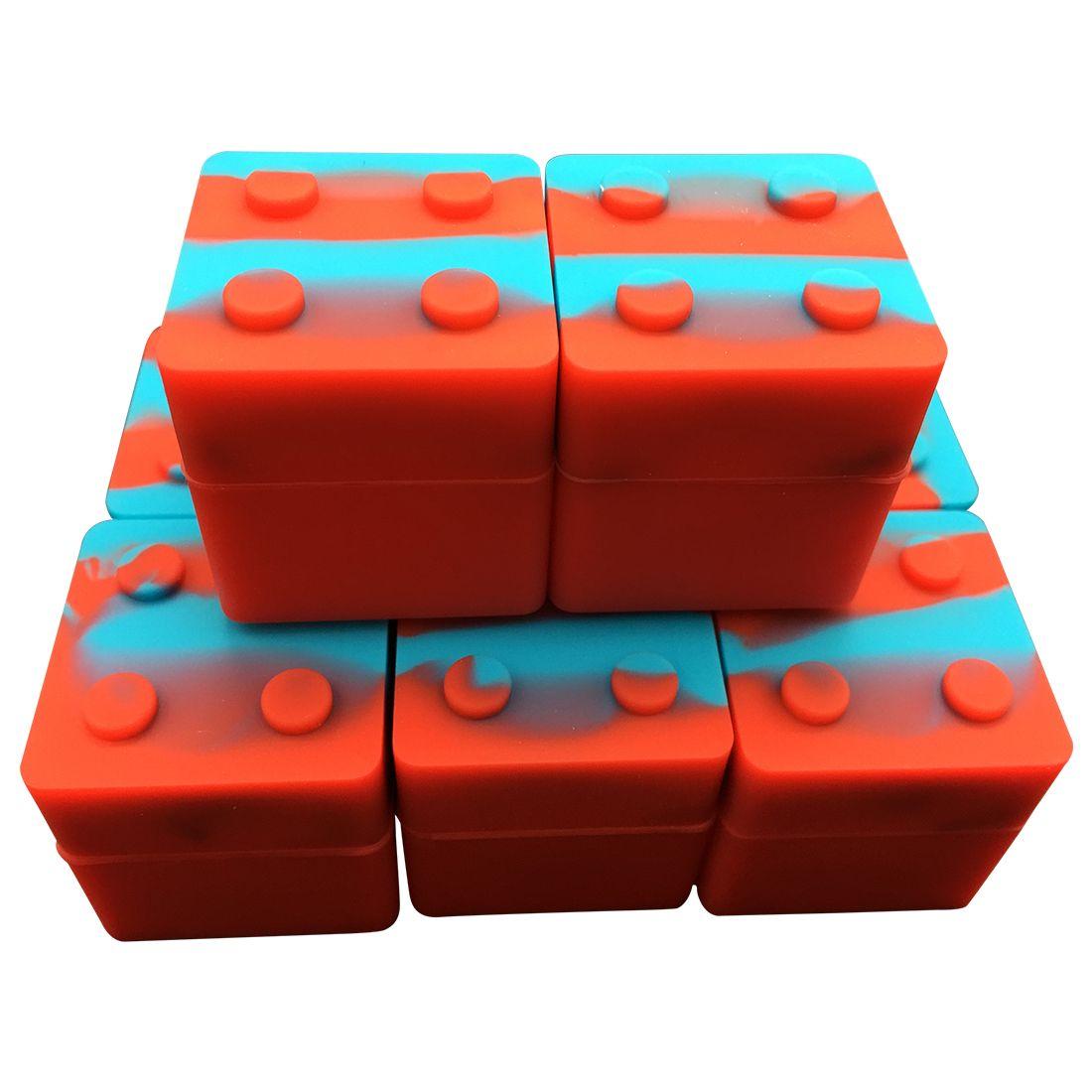En çok satan zengin renk istiflenebilir silikon konteyner için balmumu 9ml küp şekli silikon kaplar dab kavanoz