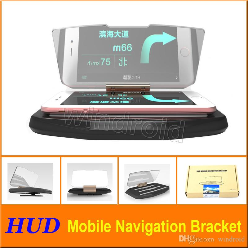 Car Head Up Display HUD For Car Phone GPS Navigation Glass Reflector Cell phone Holder Mount Bracket with retail package Free shipping