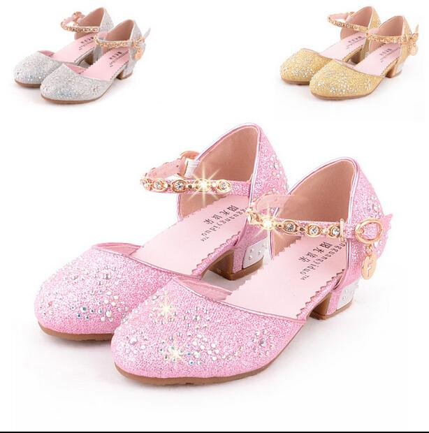 Spring Autumn Girls Pearl Shoe Diamond Little High Heels Wedding Shoes  Summer Princess Leather Shoes Children Party Shoes 062cc245f3b3