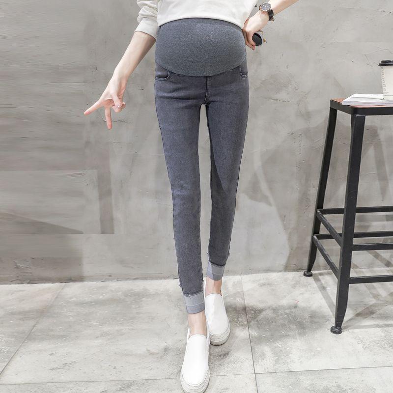 Roulé jusqu'à poignets Stretch Denim Look Pantalon de maternité taille élastique ventre pantalon de crayon Vêtements pour femmes enceintes grossesse