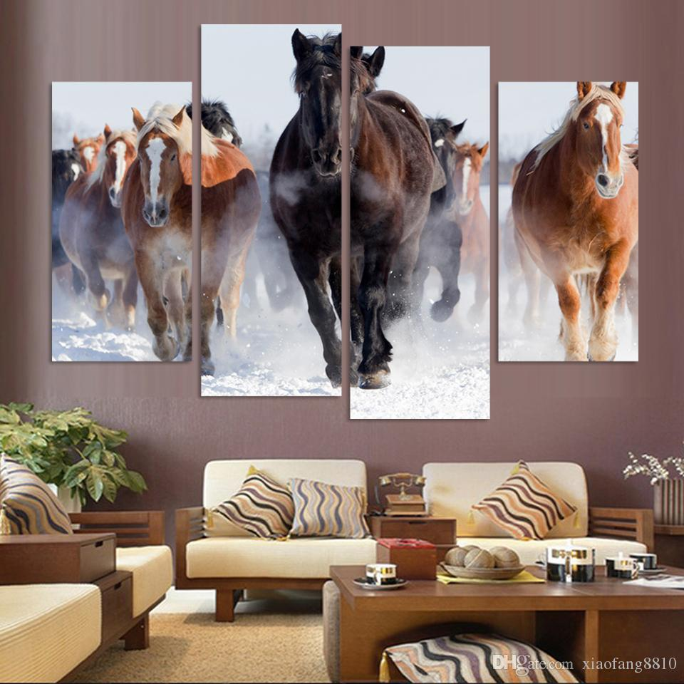 Unframed 4 pcs High Quality Cheap Art Pictures Running Horse Large HD Modern Home Wall Decor Abstract Canvas Print Oil Painting( No Frame)