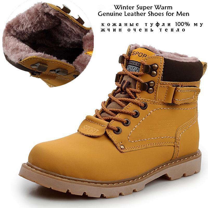Stivali invernali da uomo in pelle da uomo Super Warm da esterno Impermeabili stivali da neve in gomma per il tempo libero Martin Boots England Scarpe retrò per uomo