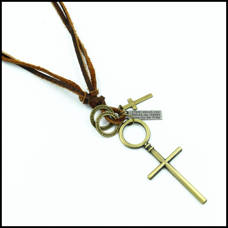 New big cross pendant necklace Fashionable men and women leather ...