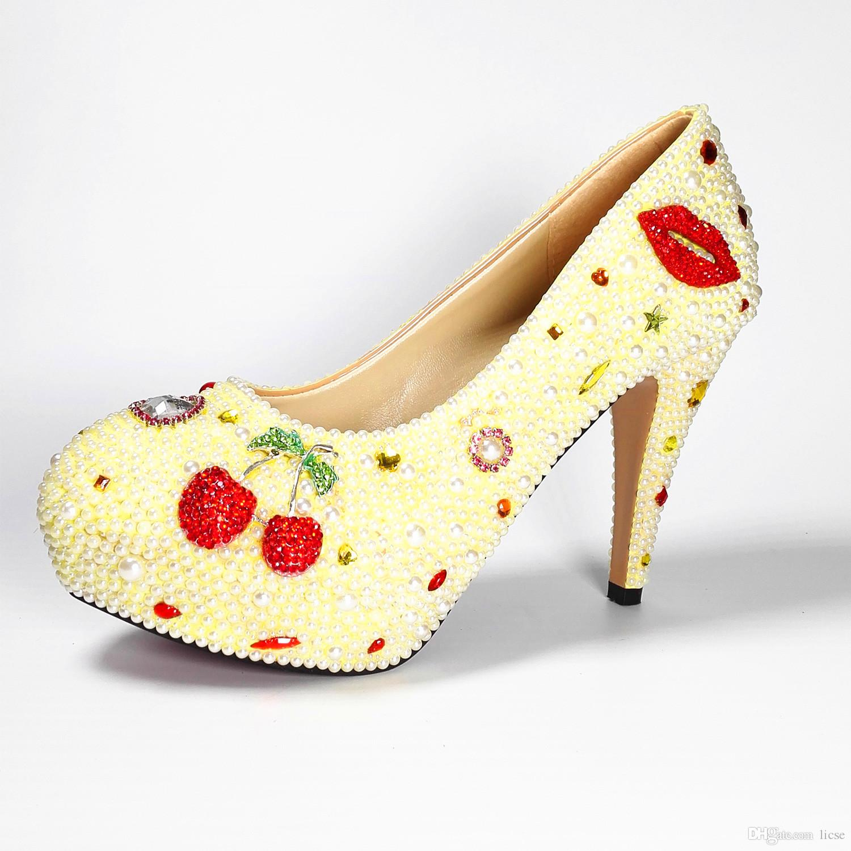 Designer Red Sole Fancy White Pearl Heels Wedding Bride Sparkle Cinderella Platform Evening Pumps Elegant High Heel Dress Shoes Women Wedges 2018 From Licse