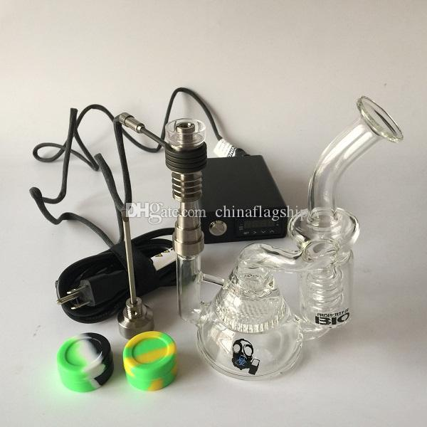 DHL free E Digital Nail Kit of Hybrid Nail coil heater with newest design perc Honeycomb Percolator recycler glass bong dab oil rig