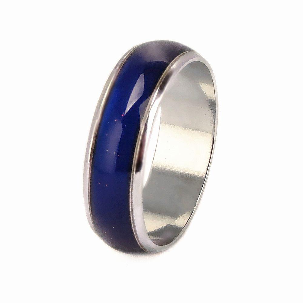 Nuevo 50PCS 6mm cambio de color de humor Moda banda de acero inoxidable joyería pulido anillos venta al por mayor lotes mixtos