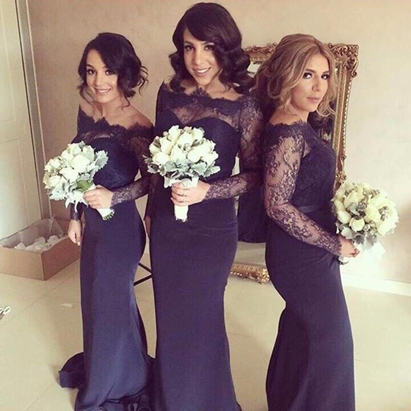 Plus Size Bridesmaid Dresses Sleeves 2016 Long Chiffon Sheer Lace ...