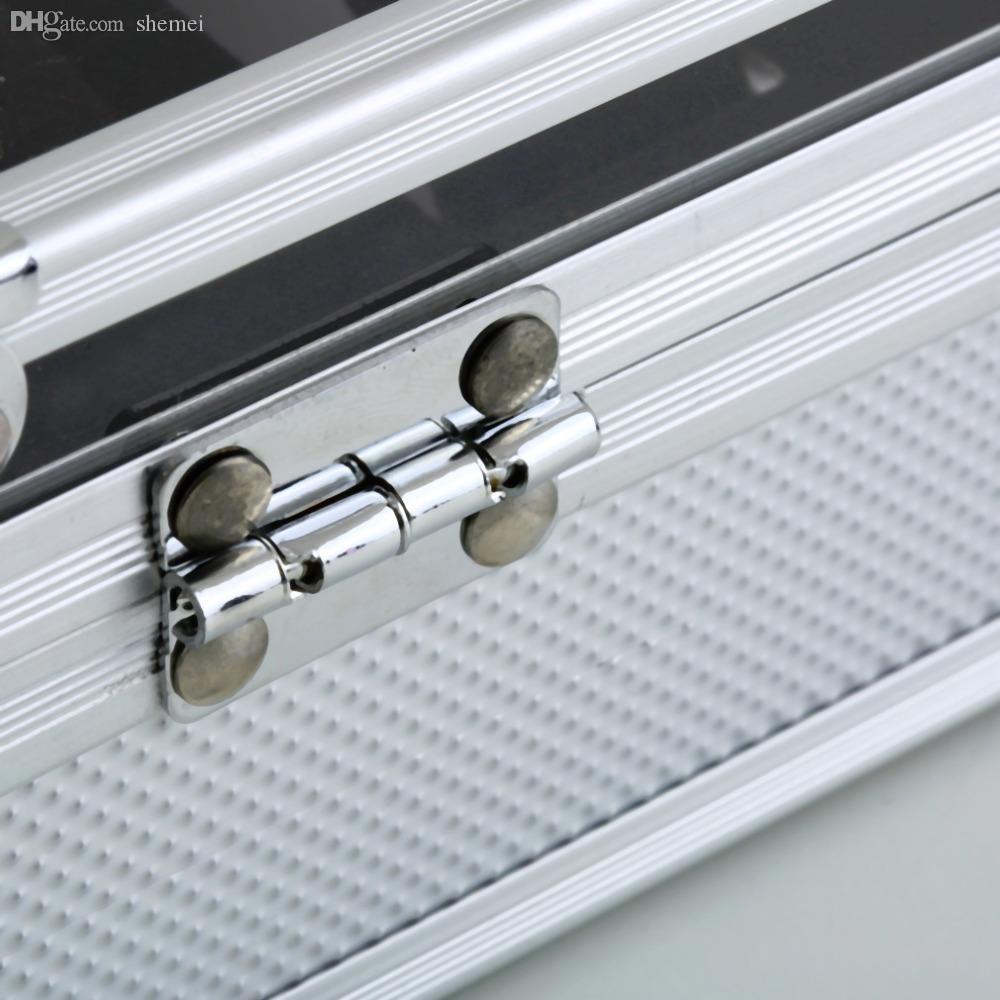 Atacado-Professional 12 Grade Slots Jóias Relógios Display Caixa de Armazenamento Quadrado Caso De Alumínio Camurça Dentro Recipiente New Hot Selling