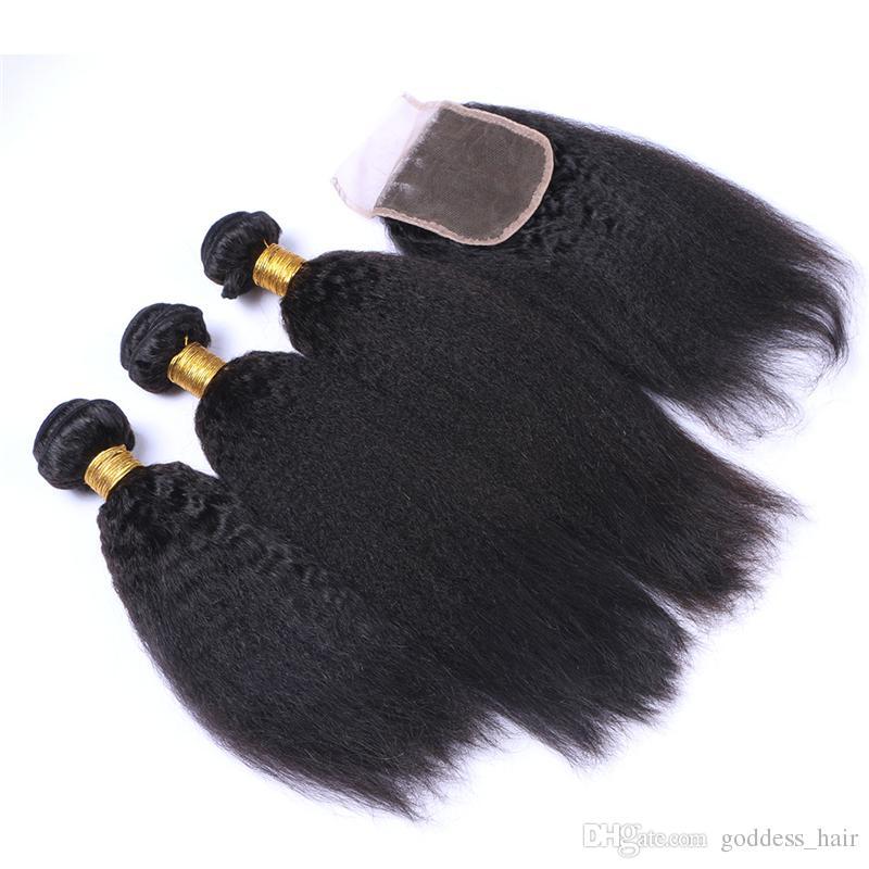 Pelo humano recto rizado 9A de Mongolia con cierre 3 piezas Pelo grueso natural de Yaki tejido con cierre Color natural Yaki italiano