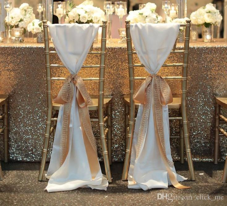 Fashiontaffeta Sandalye Şampanya Olmadan Kapakları Seqined Organze En Popüler Düğün Şekeri Düğün Sandalye Sashes Düğün Süslemeleri