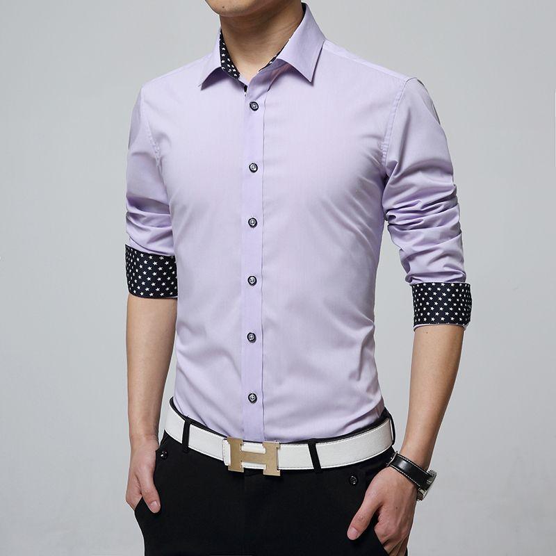 All'ingrosso-7 Colori Formali Mens Camicia a maniche lunghe Moda Business Style Camisa Masculina Patchwork Chemise Homme M-5XL Camicie maschili