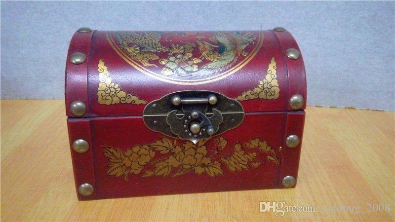 Raccolta a buon mercato all'ingrosso del tesoro di legno fatto a mano del contenitore di gioielli fatto a mano del retro del drago orientale / trasporto libero