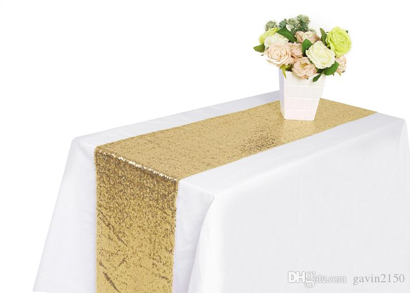 Free Shipping Hot Selling 30*180CM Gold Sequin Table Runner For Christmas Wedding Party Banquet Home Decoration