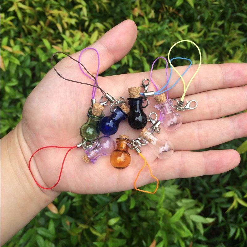 Mini Glass Bottles Key Chain Pendants Lobster Clasp Glass Ball Bottles Corks Vial Arts Jars For Bracelets Mixed Colors (5)