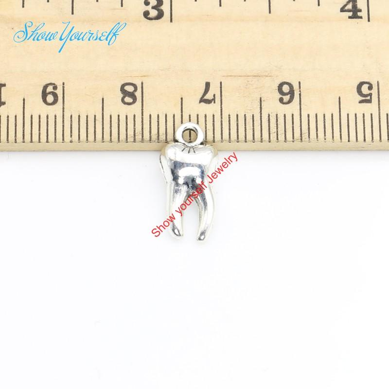 20 teile / los Antikes Silber Überzogene Zahn Charms Anhänger für Halskette Schmuck Handgemachte Fertigkeit 15x8mm
