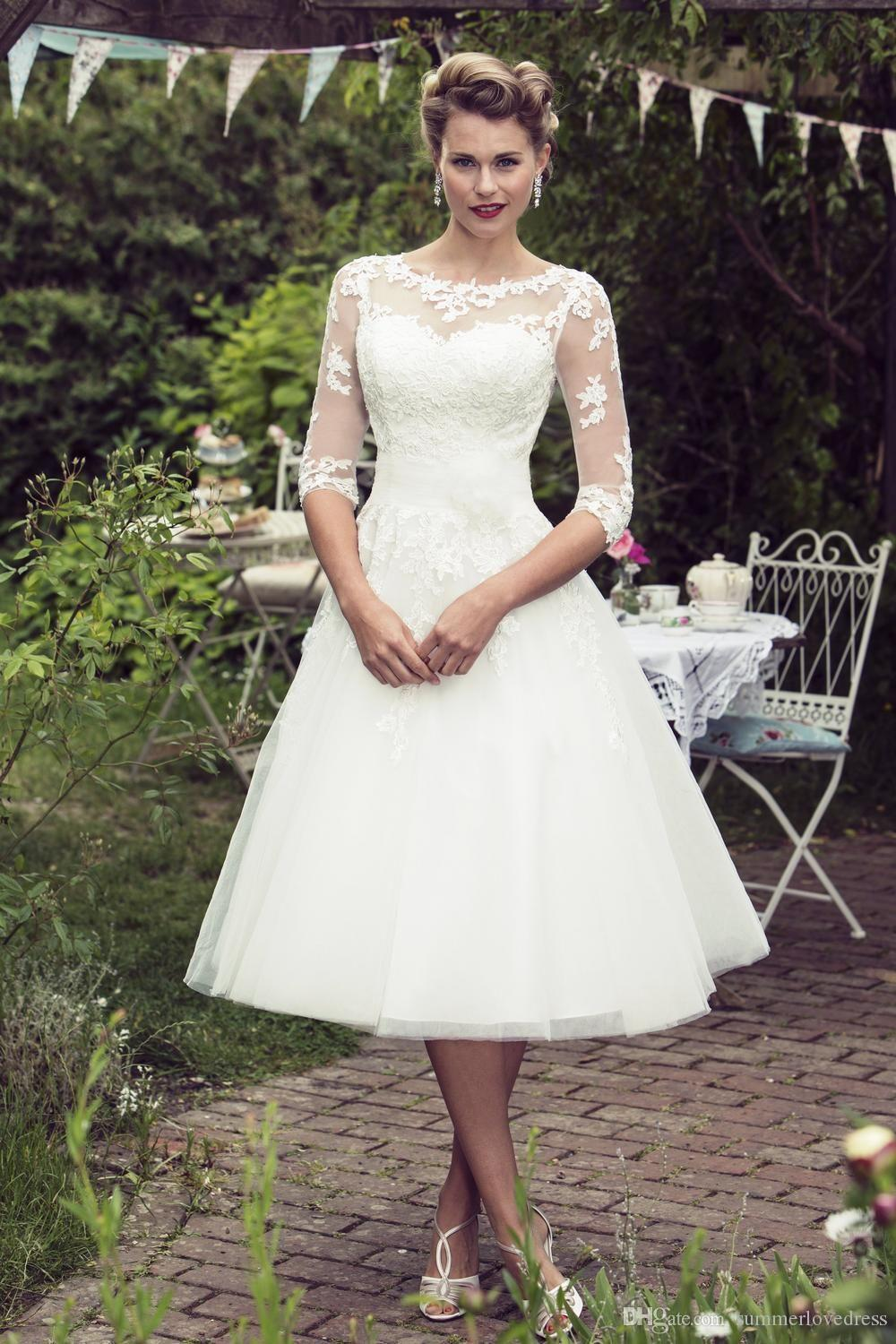 DiscountVintage 200s Style Short Lace Wedding Dresses 200/20 Long ...