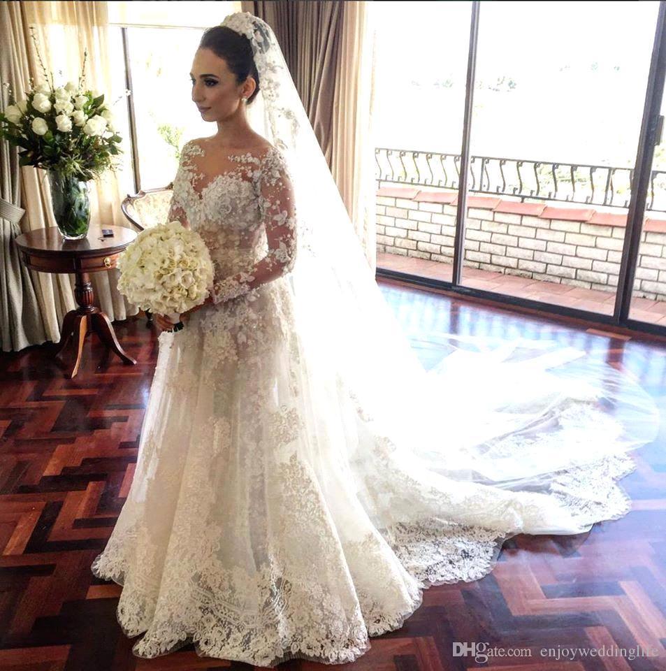 2017 새로운 우아한 쉬어 롱 슬리브 레이스 A 라인 웨딩 드레스 Tulle Applique Court Train Bridal Wedding Gowns