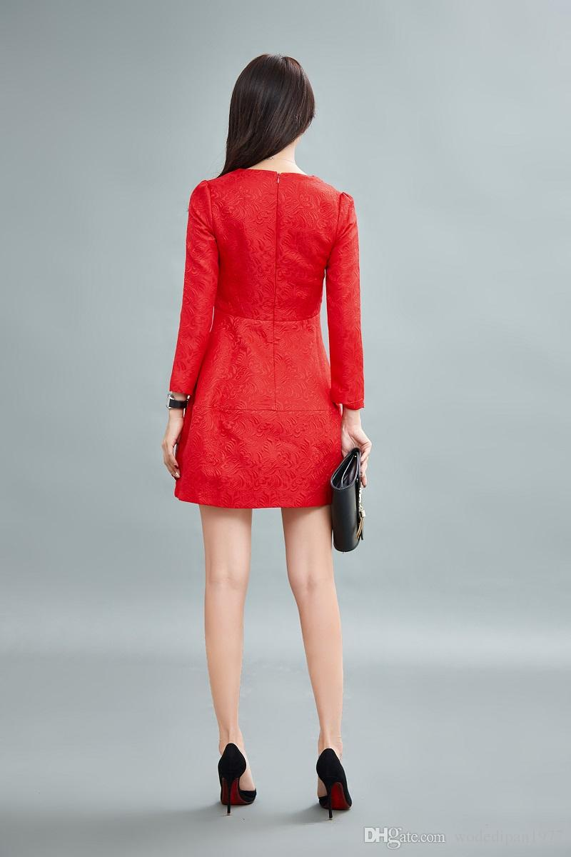 New Arrivals Womens Elegant Long Sleeve Red Slim Embroidery Dresses ...