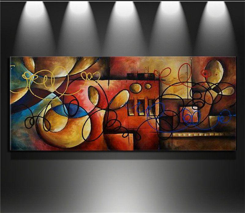 단일 맞춤법 손으로 그린 현대 벽 예술 홈 장식 캔버스 라인에 색 조각 추상 유화