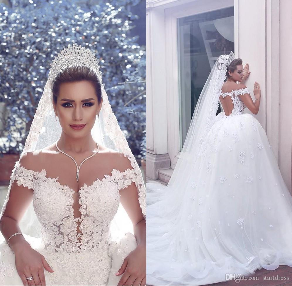 Robe de bal de balle unique robe de mariée de dentelle florale sur l'épaule keyhole arrière-plan de rossage de la robe de mariée de la mariée de rabais Appliques perles robe de jardin gonflé