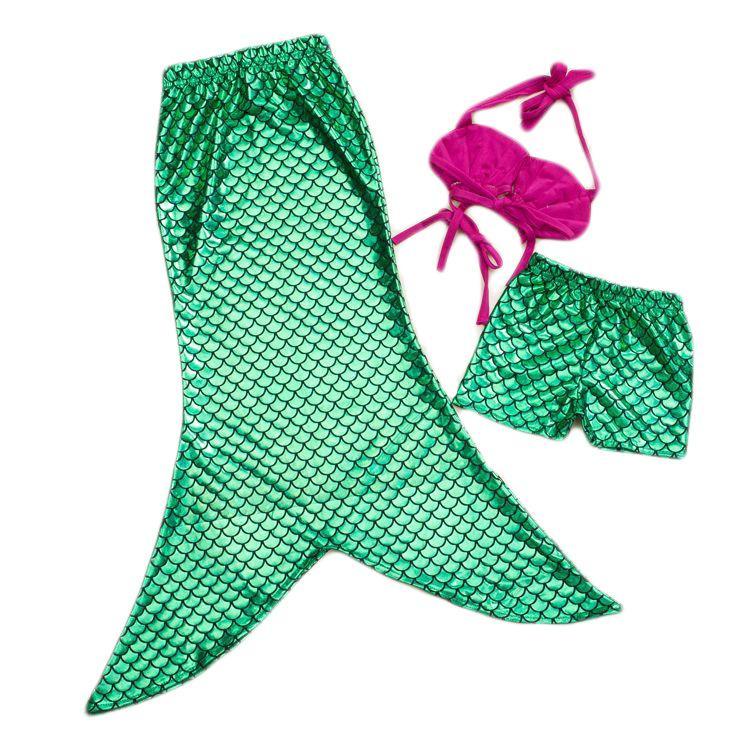 2016 novas crianças meninas sereia sereia roupas de banho 3 pcs conjunto shorts e lantejoulas princesa swimsuits 6et / lote para 2-7t crianças