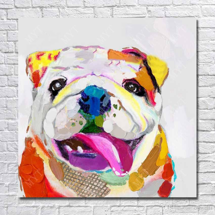 Bull dog picture no wooden frame modern pop art dog image for wall decor abstract colored modern dog painting