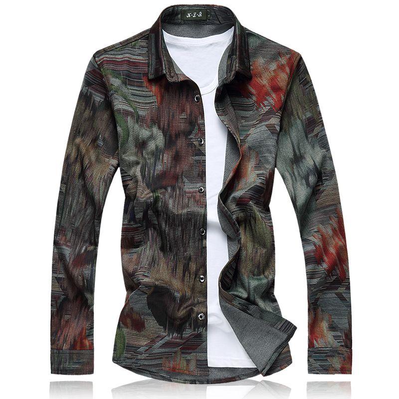 Vente en gros-2017 Floral Hommes Chemises M-5XL 6XL 7XL Casual Chemise Hommes Rouge Vert Designer Robe Chemises Hommes C6C6