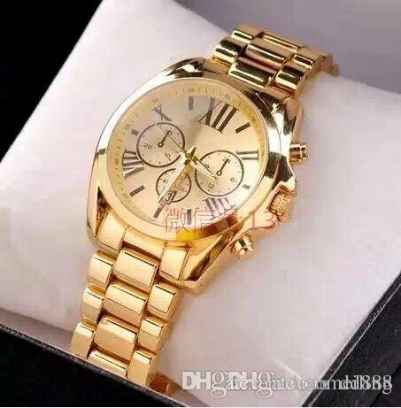 Heiße Uhren führten Uhr-Mens-Geschäfts-Edelstahl-Metallgürtel-Vorwahlknopf-Golduhr-Art- und Weisefrauen hochwertige Quarz-Uhren 627