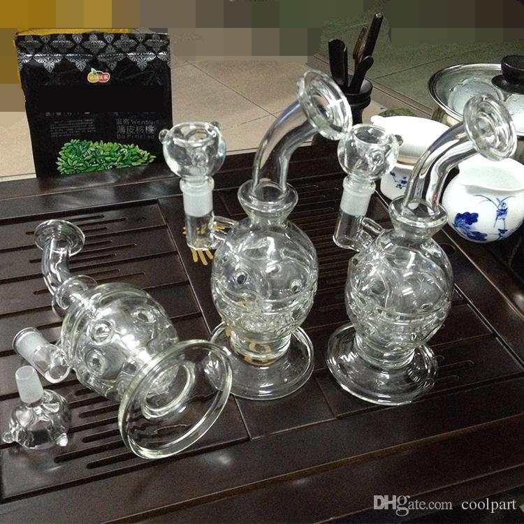 Bongs de vidrio Tubos Reciclador Filtro Percoladores tubos de agua para fumar Dos funciones Hookah faberge plataformas para huevos 14.5 mm vidrio para fumar
