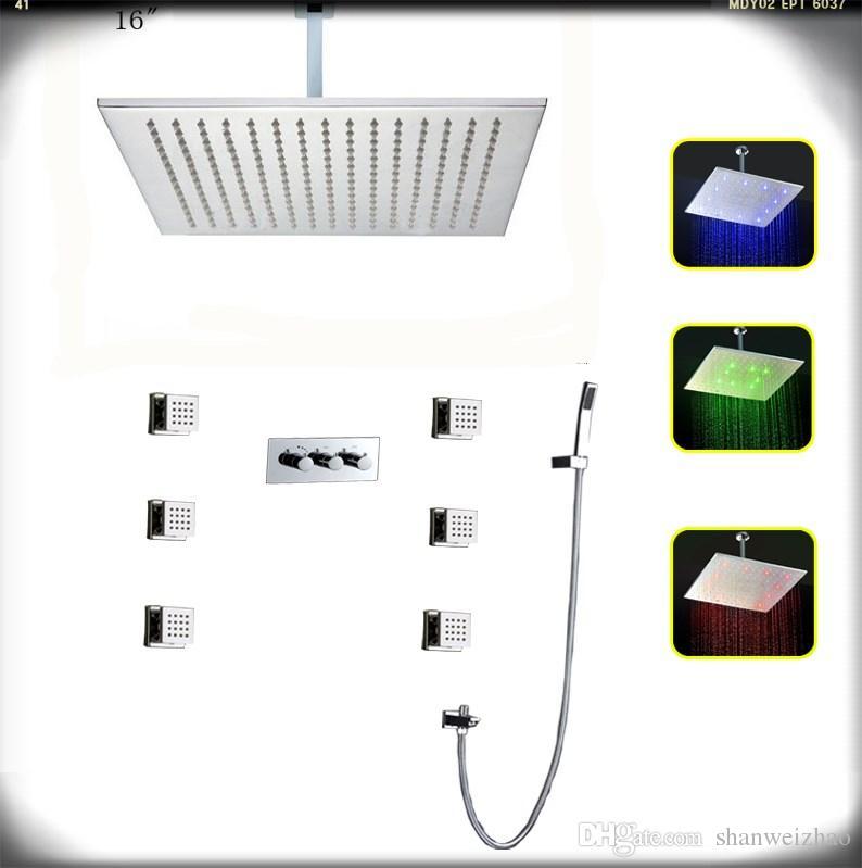 Luxo LED Cabeça de Chuveiro E latão cromado Corpo jatos De Parede Fixado Na Casa de Banho Conjunto de Chuveiro de Precipitação